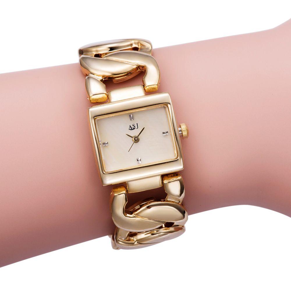 Nova Moda Feminina Luxo Pulseira Assista Quartzo Dourado Relógio Retângulo Capa de Cristal Dial Cristal Cadeia De Cadeia De Cadeia Vestido Relógios De Pulso J1205
