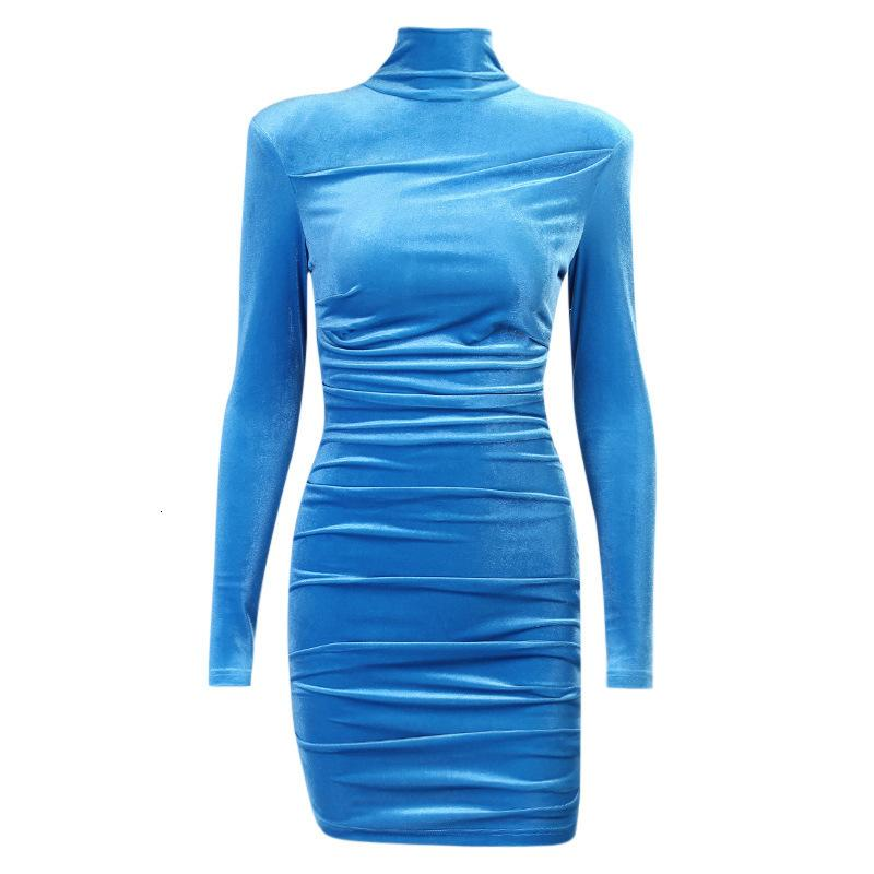28423p shoulder pad high neckline pleated tight skirt Designer FLY