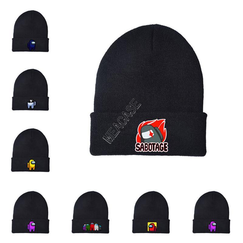 Bizimle Oyun Beanie Cap Nakış Anime Karikatür Örme Şapka Sıcak Kış Şapka Unisex Yün Şapka Kayak Tuque Bonnet Kulak Muff Şapkalar D121102