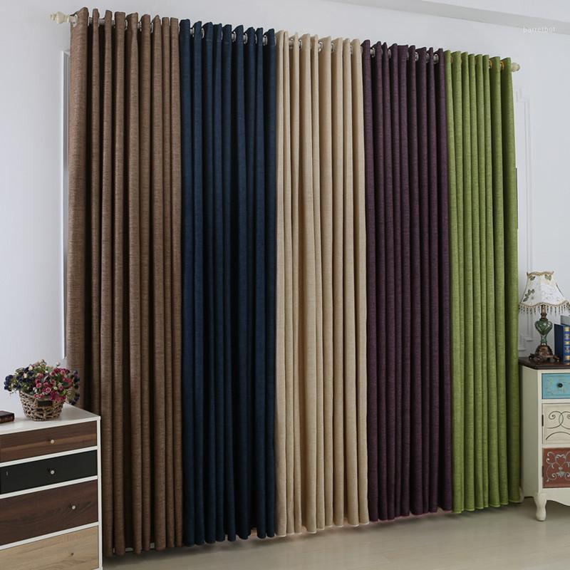 Custom Size Ready Made Solid Color Faux Plain Green Blackout Window Curtain for Living Room Shading Linen Cloth Bedding Room1