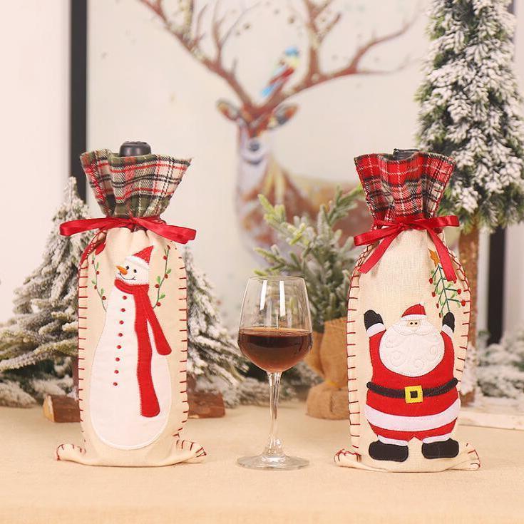 Couvercle de bouteille de vin de Noël Snowman Portable Bouteille de vin Couvertures Creative Dessin animé Noël Fourniture de Noël Festive Festive Supplos