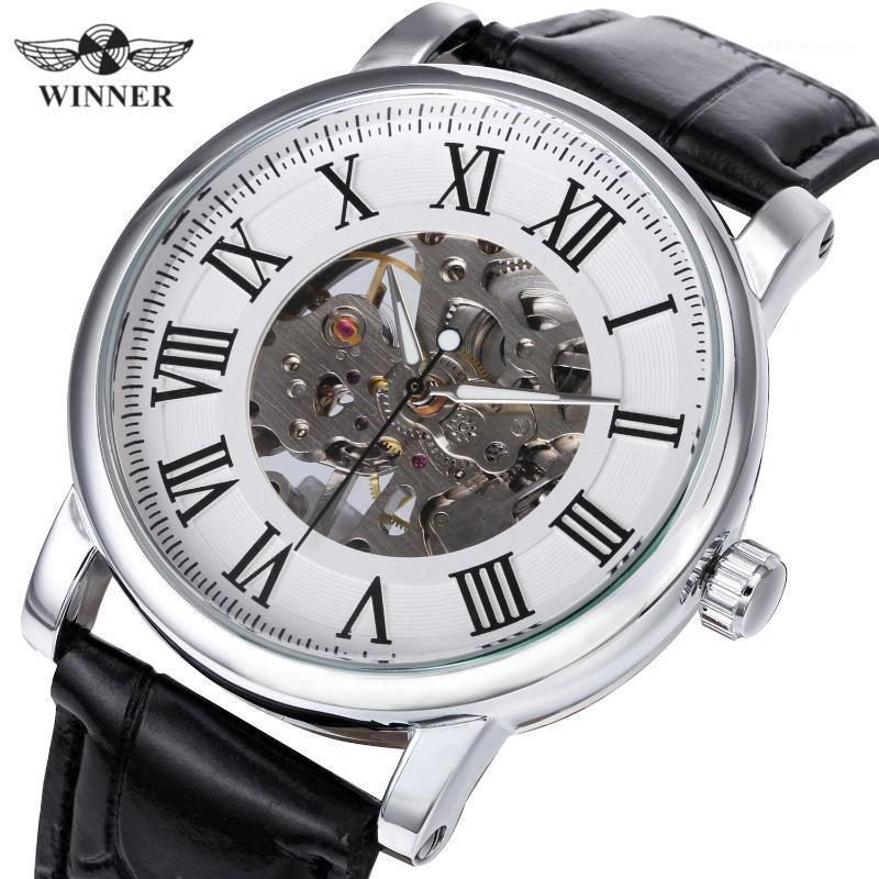 Montres-bracelets Gagnant Simple Montre Simple Hommes Casual Mens Montres Haut Squelette Montre mécanique Mécanique Bracelet en cuir PU Holle Clock1