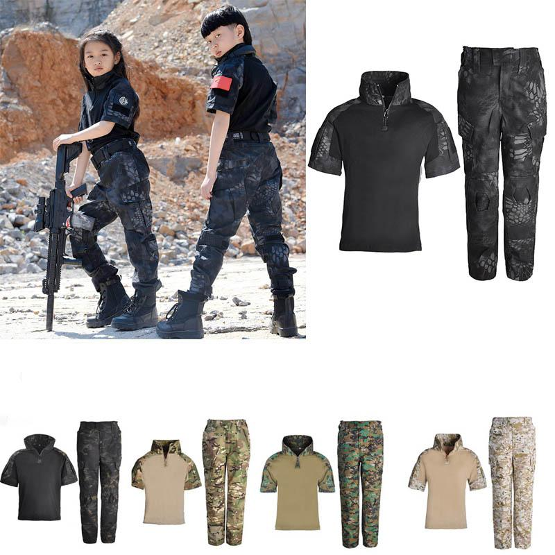 Pantalons de chemise Shirt Woodland Shirt Set Robe de bataille Uniforme Tactique BDU Ensemble Combat Enfants Vêtements Camouflage Kid Enfant Uniforme P05-021