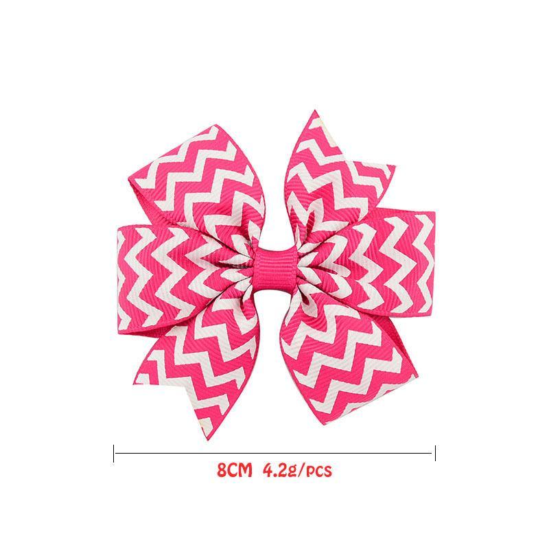 Farbe 3 20 Zoll Wellen Design Grosgrain Ribbon Bögen Mädchen Haarschmuck mit Clip Boutique Bögen Haarnadeln 611 K7EA