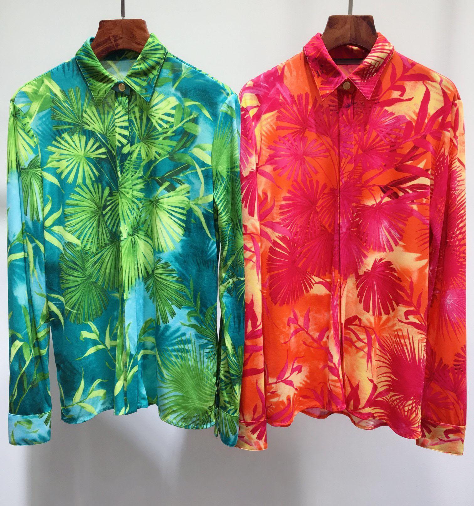 새로운 도착 디자이너 여성 블라우스 긴 소매 옷깃 목 인쇄 셔츠 여성 섹시한 탑스 인쇄 블라우스 E13