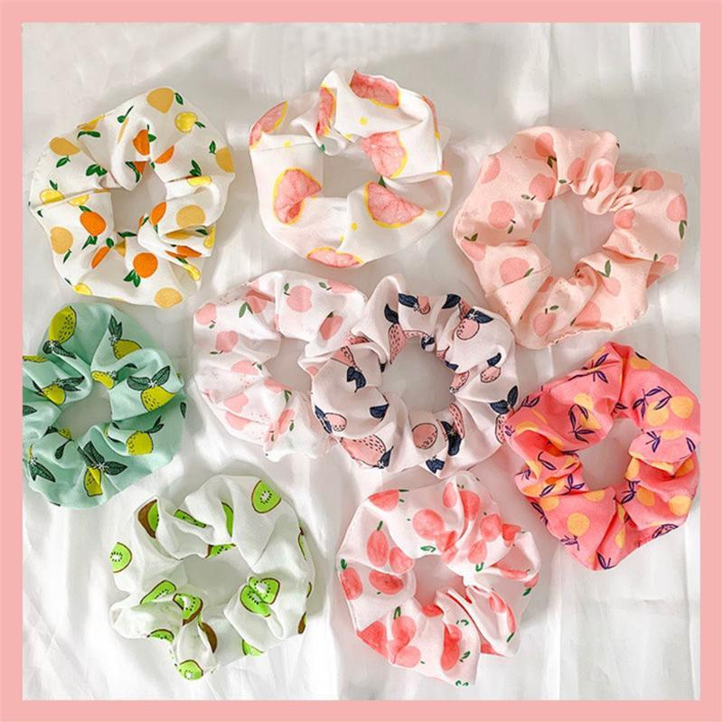 Saç Aksesuarları 9/6/4 adet Baskı Meyve Elastik Scrunchie Hairband Yaz Kauçuk Band Çiçek Bantları Kızlar için At Kuyruğu