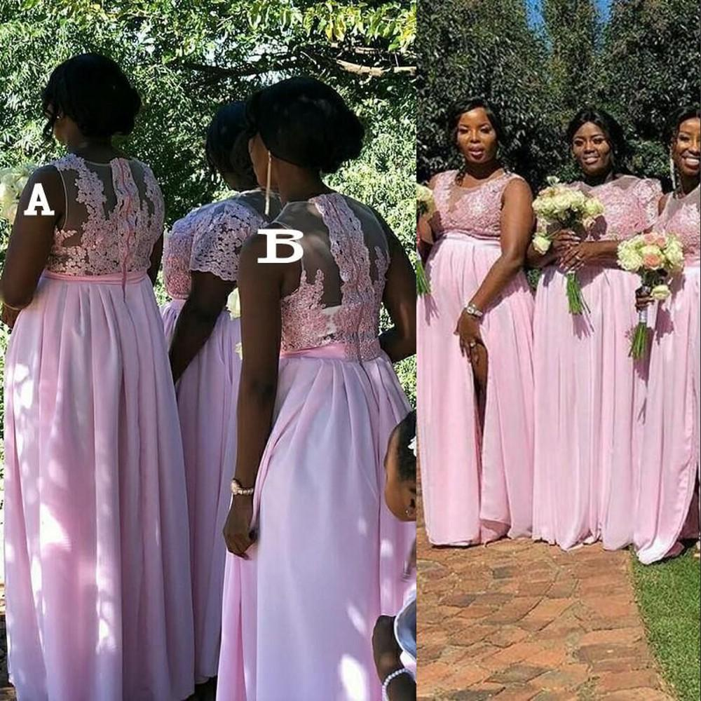 2021 New Pink Bridesmaid Dresses Jewel Neck Illusion Lace Split Sweep Train Long Simple Country Wedding Guest Gowns Maid Of Honor Dress