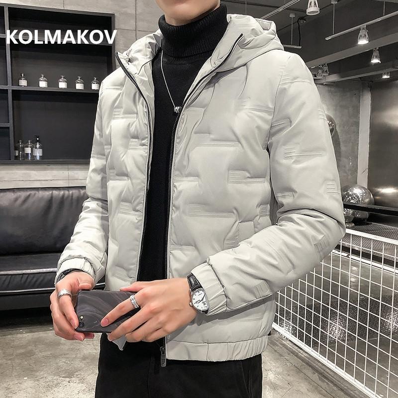 Колмаков зима мужская пальто высокого качества 80% белые утки вниз куртки мужчины повседневная утолщение куртки пальто человека размер M-5XL 201021