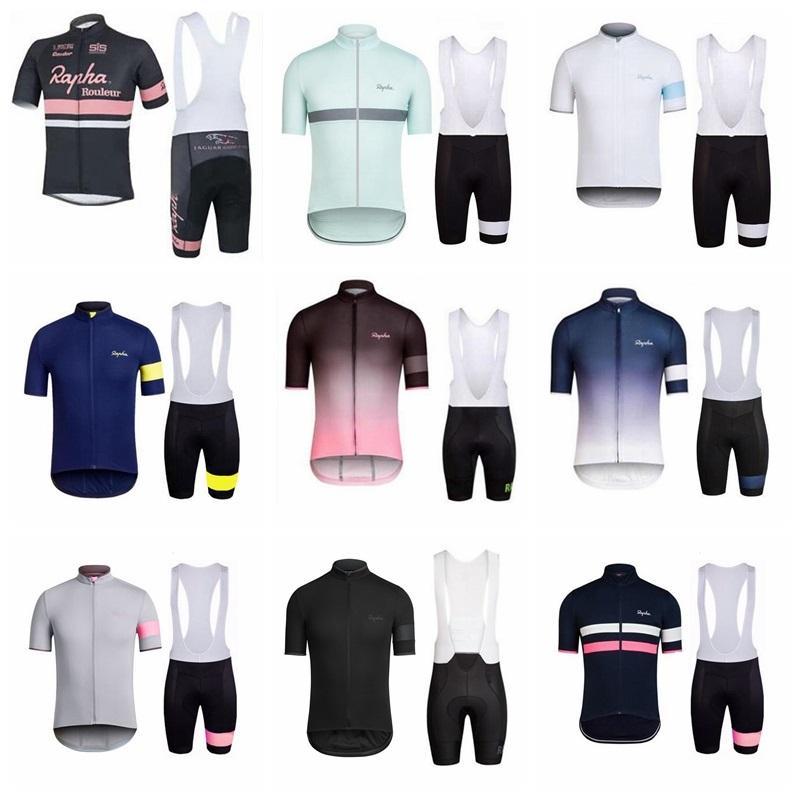 Yeni 2019 Erkekler Bisiklet Forması Set Ropa De Ciclismo Yaz Rapha Kısa Kollu Dağ Bisikleti Giyim Spor Üniformaları Takım K072901