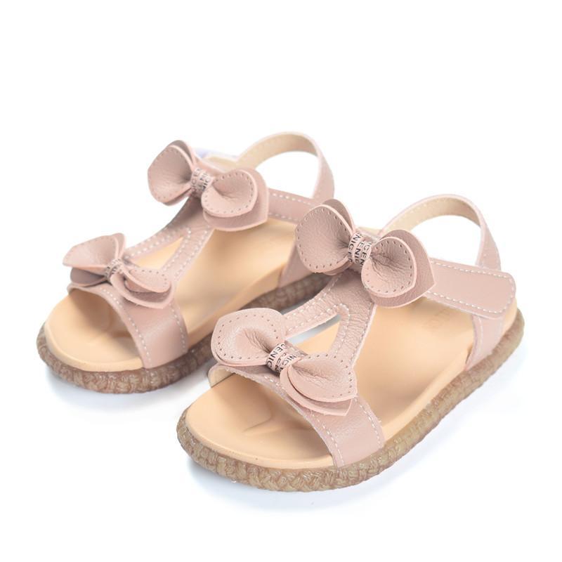 2020 Sandales d'été pour enfants pour filles en cuir Bowtie Princess Baby Filles Sandales Soldes Soldes Soldes Sandales Enfants Sandals Taille 21-30
