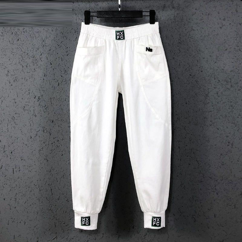 Новая коллекция летние летние Корея мода женщин эластичная талия свободные белые джинсы все совпадающие случайные катов джинсовые гарембрук S982