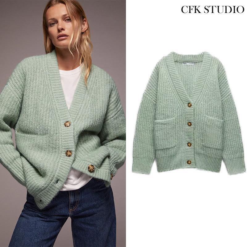 Za nouvelle femme automne cardigan avec poche à boutons unique manteau tricoté femme décontracté perturbant épais hiver pull de Noël d'extérieur