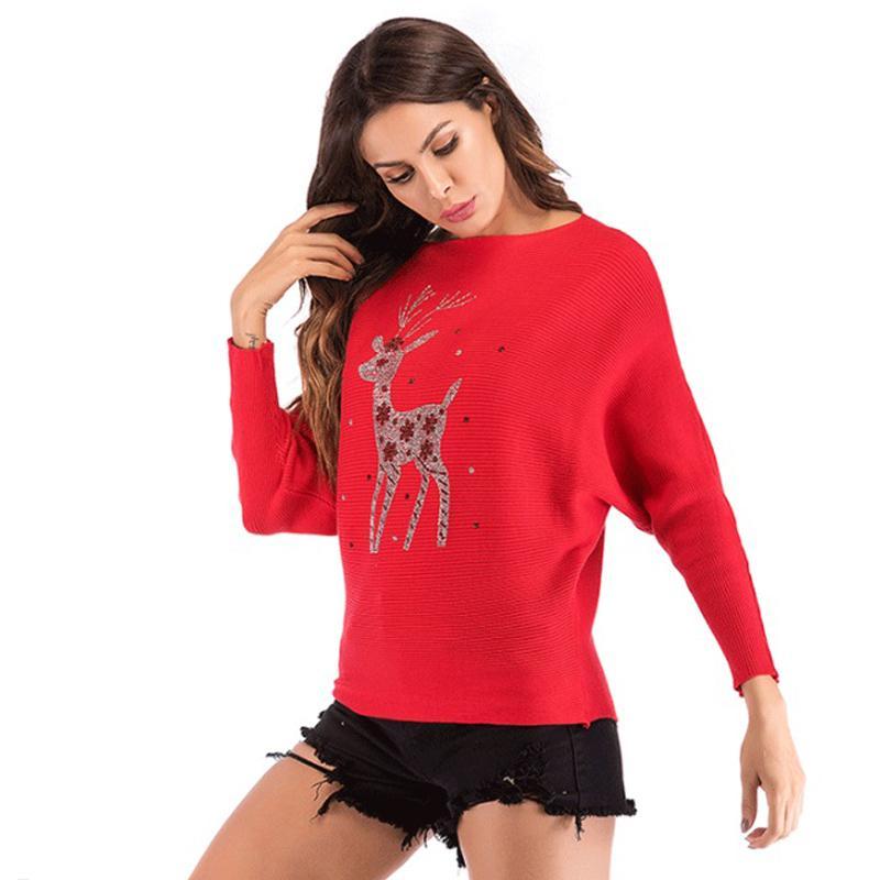 Pullover rosso 2020 natale nuovo maglione donne tops lady inverno womens jumper signore cervi sequins perline maglioni abbigliamento