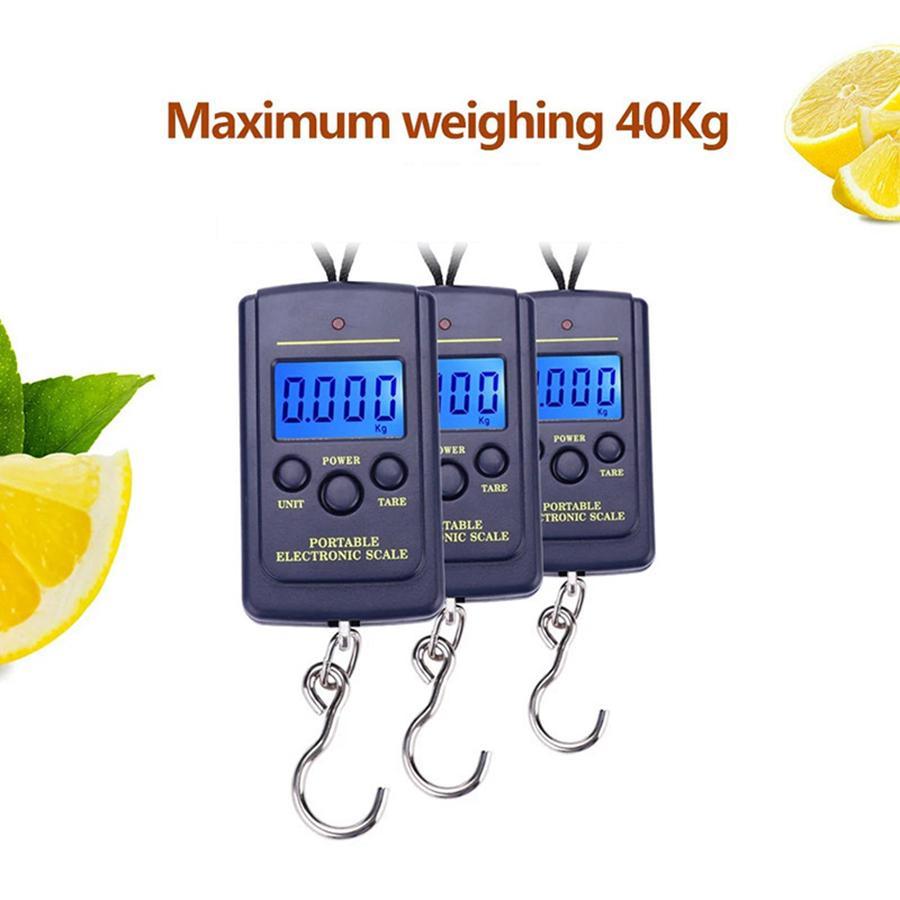 40kg / 10g Portátil Mini Mano Digital Escala de colgaje Maleta Viajes Ponderación Electrónica Equipaje Scale Fish Hook Balance Lla264