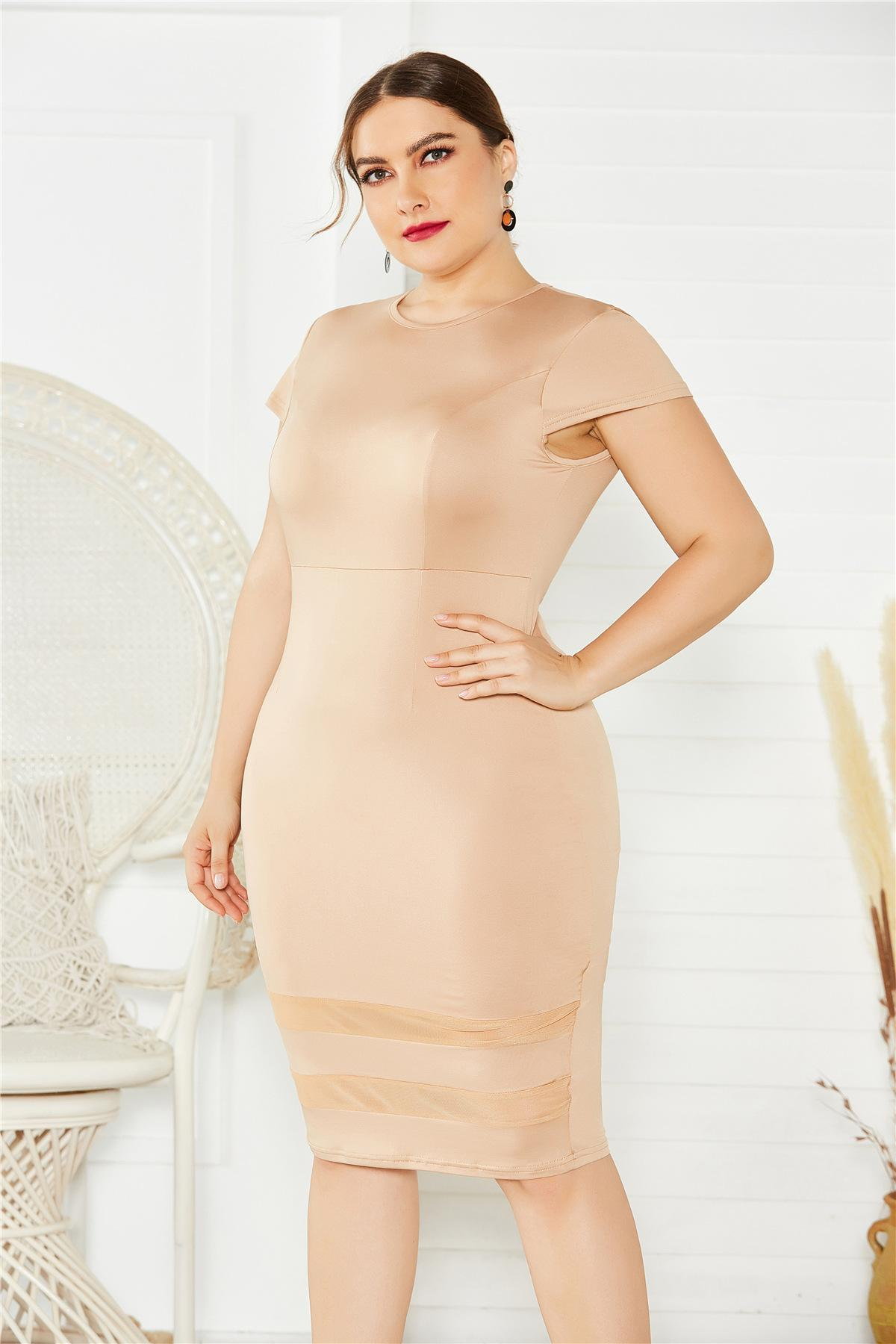 Modèles d'explosion Sexy XL Four Fat Femme Femme Robe De Couleur Solide Couleur Jupe Panneau