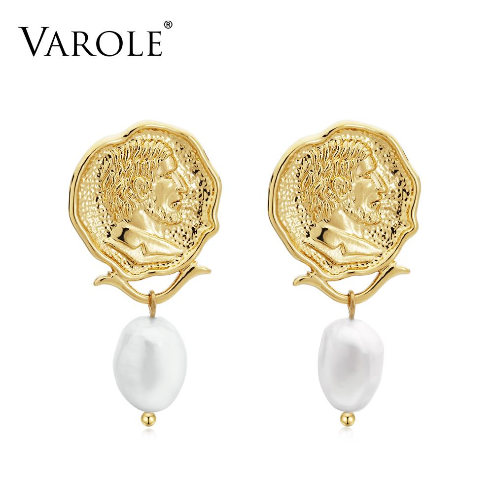 VAROLE Vintage Engraved Coin Drop Dangle Earrings for Women Figure Face Natural Pearls Pendant Earring Jewelry brinco