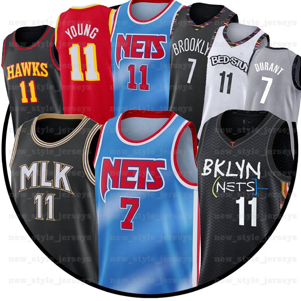 7 كيفن 11 NCAA KYRIE DURANT IRVING TRAE 11 شاب بروكلينصافي أتلانتاالصقر بلو سيتي كرة السلة الفانيلة