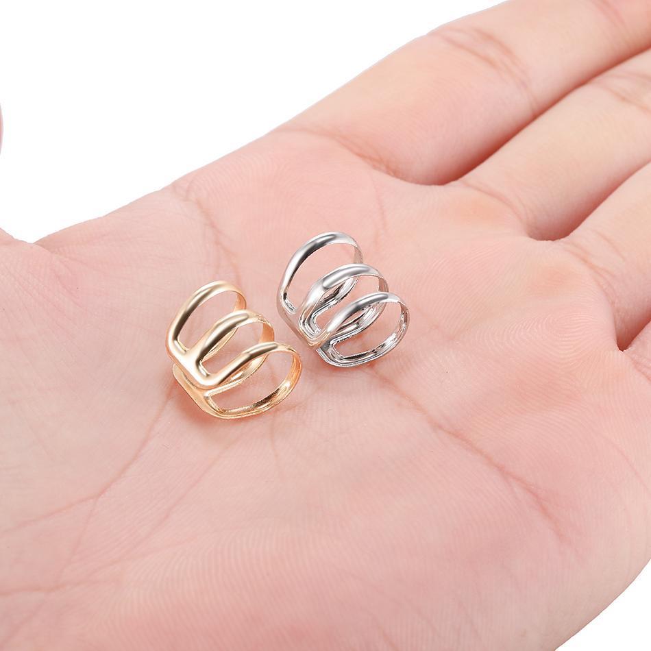 Clip d'alliage de cuivre 1PC sur une boucle d'oreille enveloppante Tragus 3 anneaux Coup de manchette au nez Bague de nez faux piercing Body Bijoux Boucles d'oreilles pour Q Jlwzo