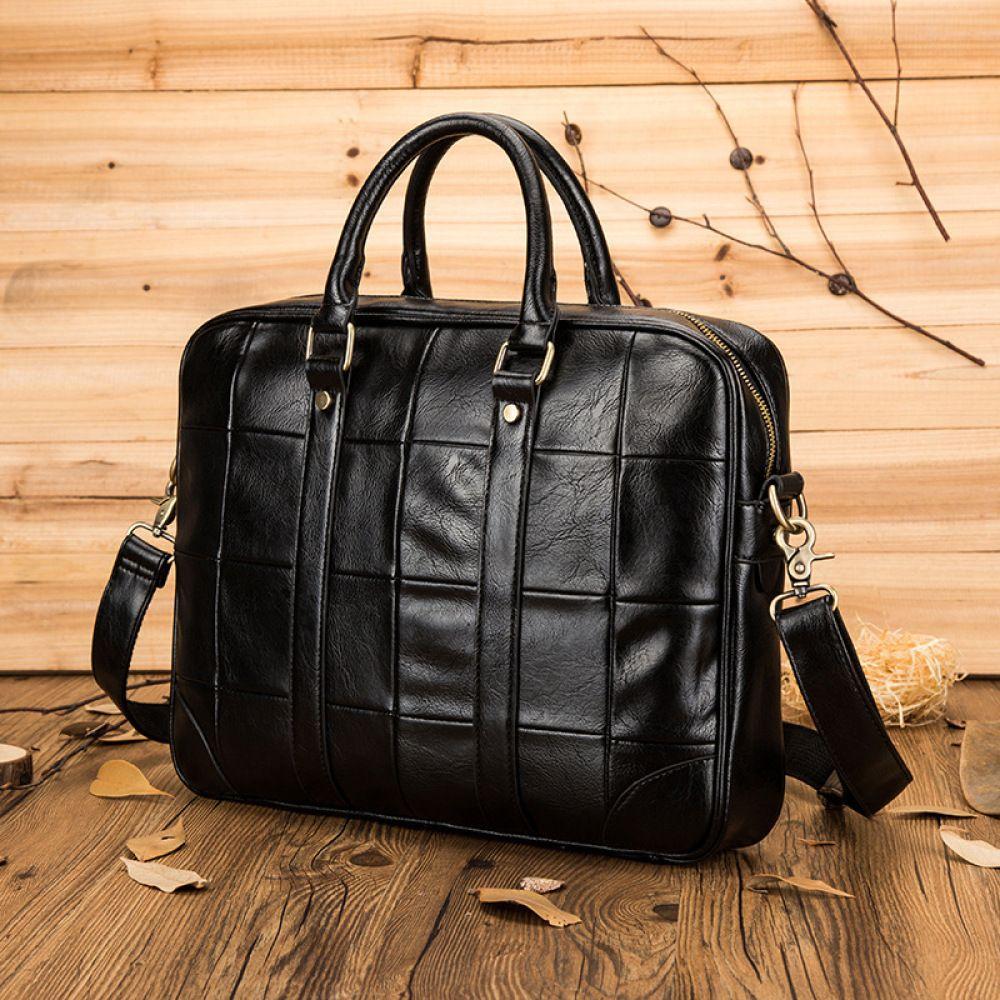 HBP Men's Fashion Leather Portable Business For Document Large Capacity 14 Inch Laptop Briefcase Shoulder Bag Q0112