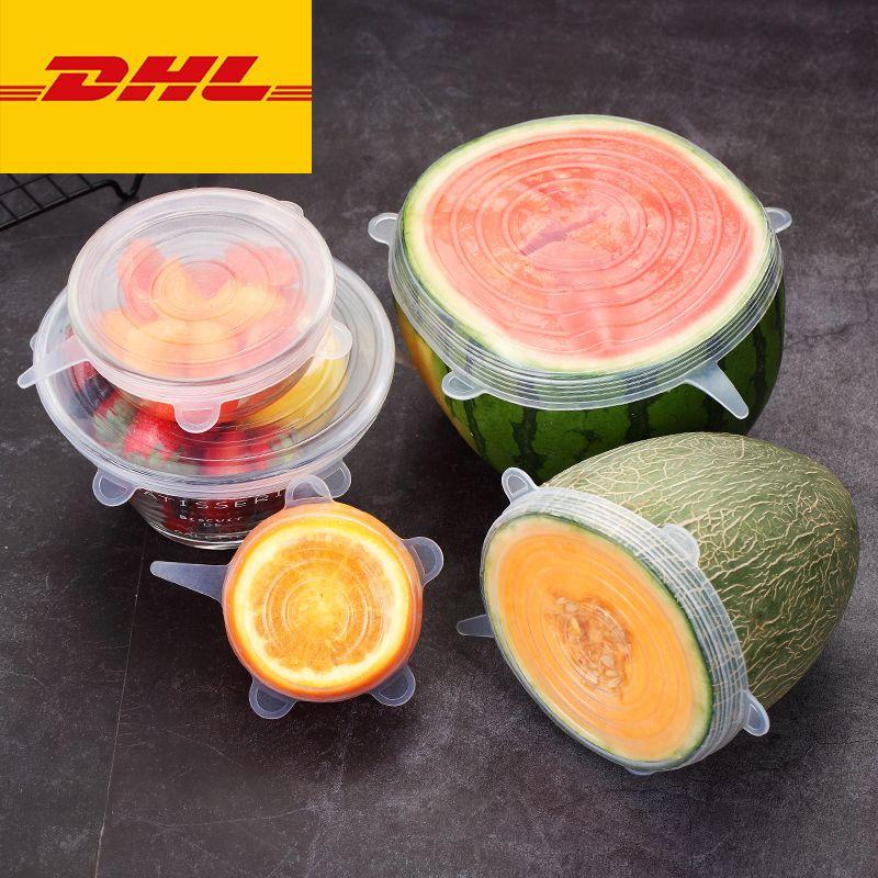 6 PCS / Set Alimento Cubierta de silicona Cap Universal Silicone Lids para utensilios de cocina Tazón Reutilizable Tapa de estiramiento Accesorios de cocina