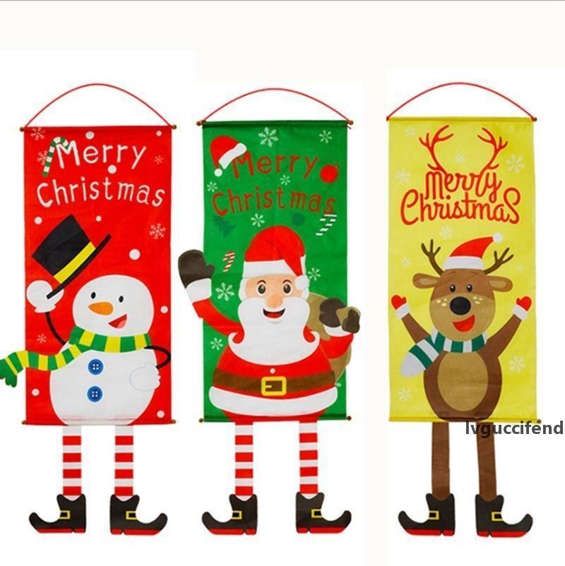 Chrismtas Decorações Porta Pendurar Pintura Restaurante Parede Pendurado Tecido Chrismtas Ornamentos Santa Snowman Elf 6 Designs opcionais YW1833