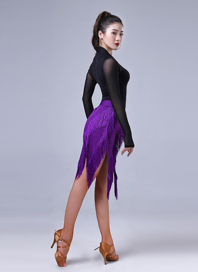 Jupe de danse Lady Latin Sexy Fringe Tassels Samba Tango Pratique jupe latine Jupe de danse latine pourpre Noir pour la performance