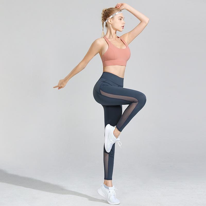 Trajes de yoga 2 piezas Set Sexy High Cintura Fitness Desgaste Cross Sport Sujetador con Pecho Almohadilla Almohadilla Alta Estirar Leggings Mujeres Entrenamiento de mujeres Gimnasio Ropa