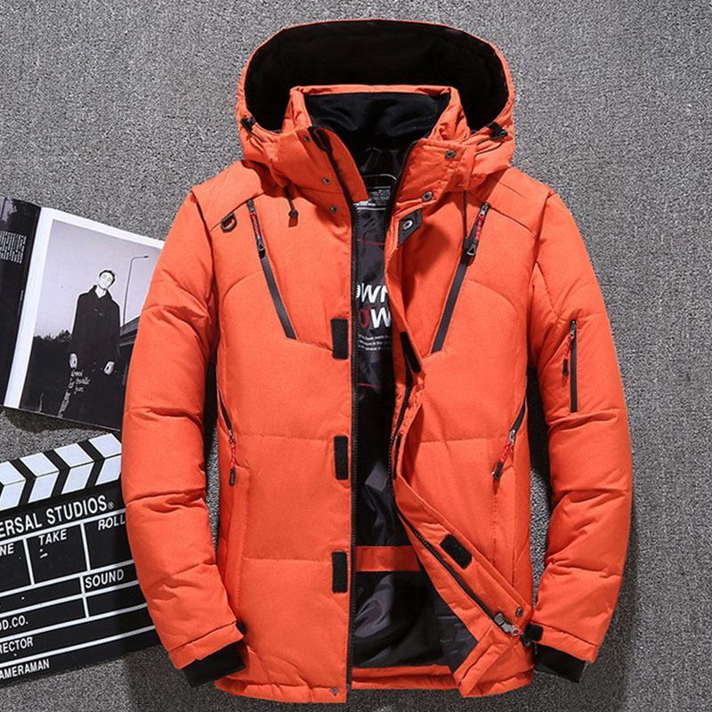 2020 pato blanco abajo ocasionales chaquetas masculinas nueva moda con capucha resistente al agua agua gruesa viento cálido joven invierno ropa exterior