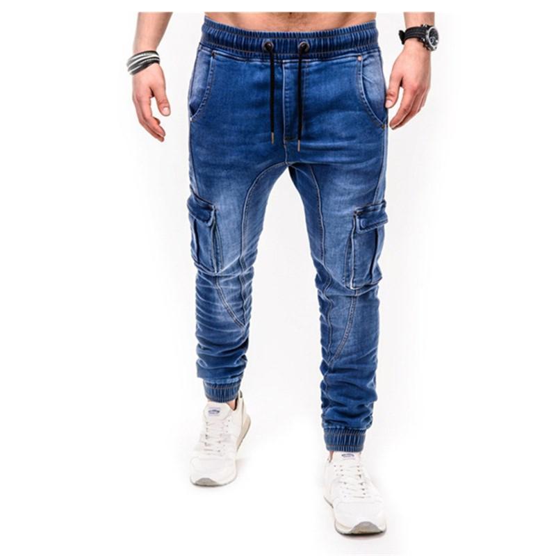 Jeans hommes pantalons décontractés en coton denim pantalon de cargaison multiple jeans de cargaison hommes nouveaux fashion denim pantalon crayon