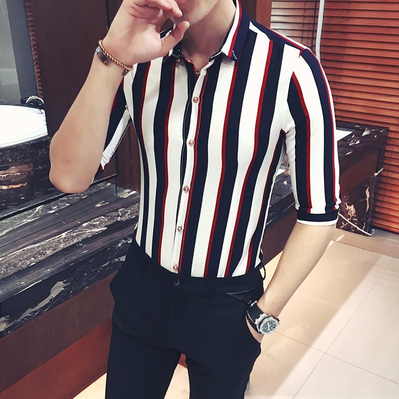 2020 рубашка, мужская полосатая социальная рубашка для мужчин с короткими рукавами, летняя мода, шикарный, большой размер 5XL, красный и белый, полосатый, WK4F