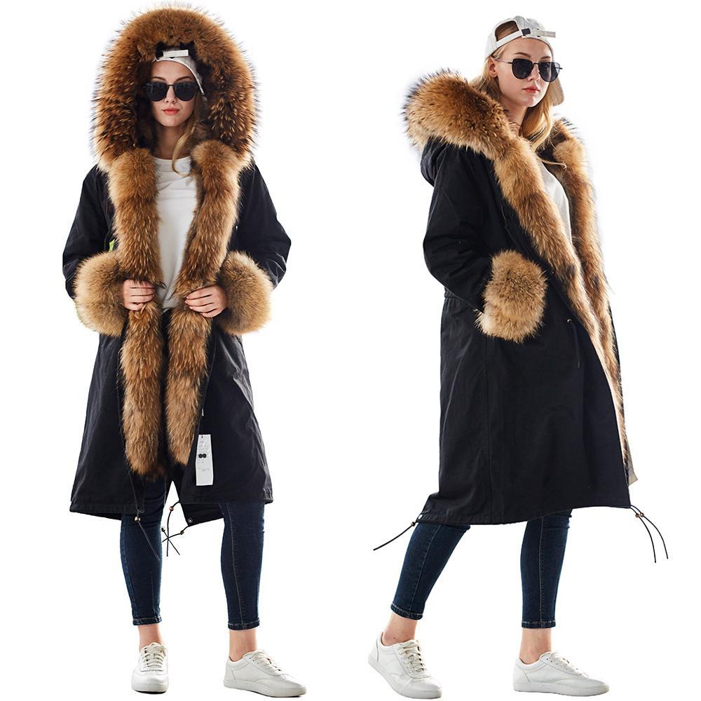 Mao mao kong inverno donna naturale pelliccia di pelliccia naturale plus size donne parkas nero procione fodera pelliccia x lungo giacca calda cappotti 201126