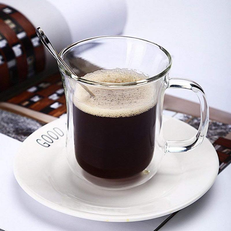 Tazas Resistente al calor Copa de vidrio de doble pared Cerveza Cerveza Espresso Conjunto de café hecho a mano Taza de whisky Tazas de whisky Webware # 25