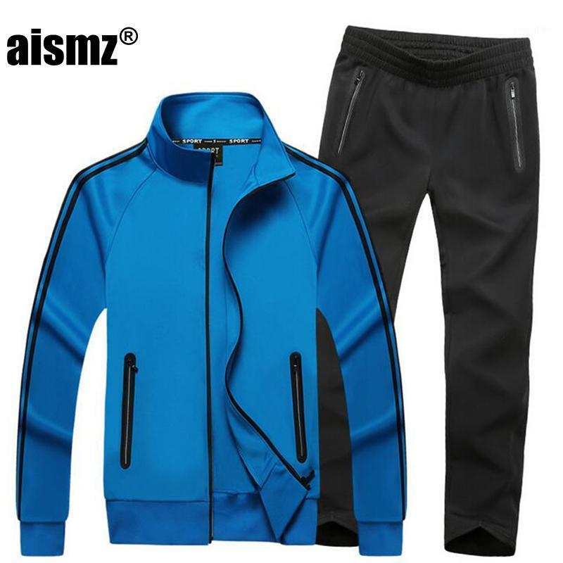 Aismaz Frühling Herbst Männer Neue hochwertige 6-farbige Freizeitanzug Einfache Massivfarbe Jacke + Hosen Zweiteilige große Größe Casual Suit1