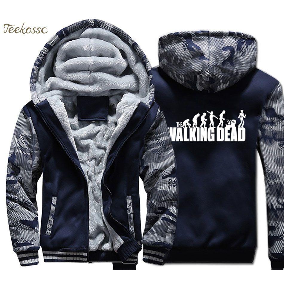 The Walking Dead Hoodie Herren Evolution Lustige Kapuzen-Sweatshirt Mantel 2020 Marke Winter Dicke Fleece Warm-Reißverschluss Camouflage Jacke