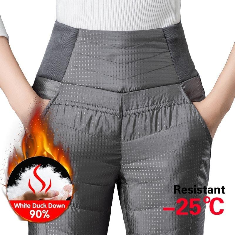 Winter Casual Women 90% White Duck Down Pants Winter Thick Warm Slim Elastic High Waist Pencil Pants Women Plus Size Trousers 201031