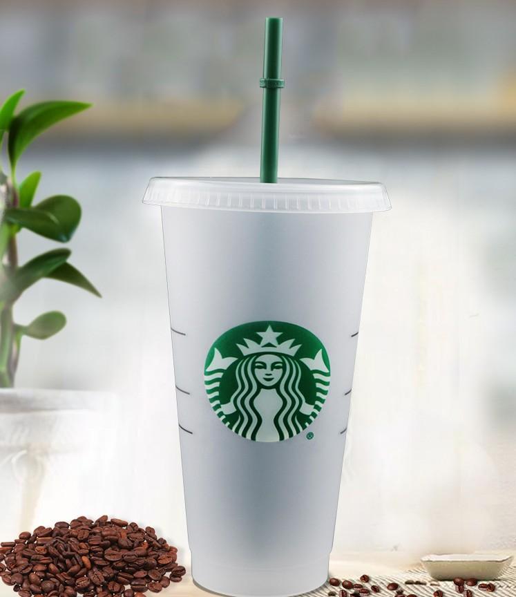 Copo de café bebendo e copo de plástico com copo de palha do suco de lábio 24oz transparente Costom Starbucks Caneca de Plástico Magia Rwrka
