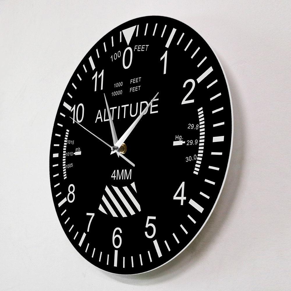 Altimètre Horloge mural Tracking Pilot Air Plan Air Altitude Mesure murale Moderne Montre Classique Instrument Accueil Décor Aviation Cadeau de l'aviation LJ201204