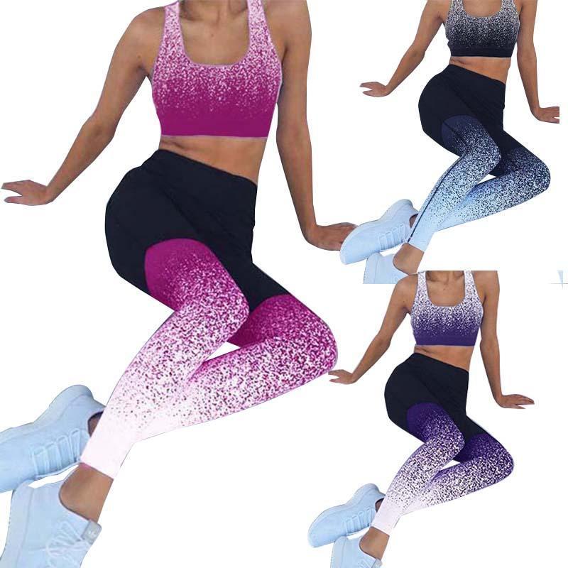 Kadın Yoga Setleri Kıyafetler Yüksek Bel Gradyan Yıldızlı Gökyüzü Spor Koşu 2 Parça Suits Bayanlar Elastik Push Up Gym Sutyen Pantolon