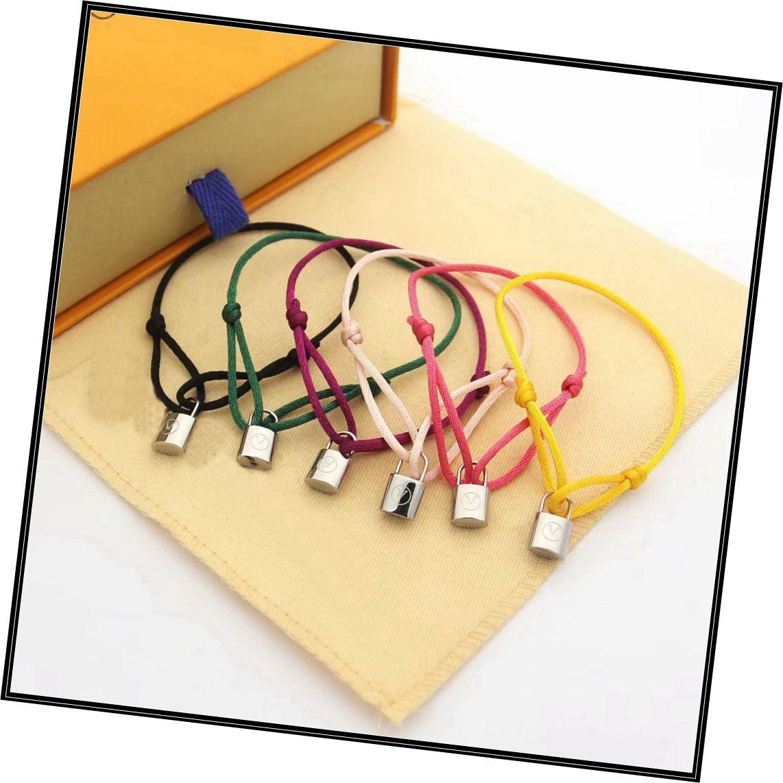 Europa América estilo de moda hombre dama mujeres plata lockit color nylon cable cuerda brazalete brazalete con grabado v iniciales cerraduras encanto