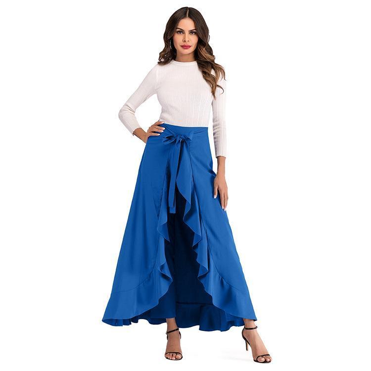 FnOce 2020 nouveau pantalon pour femmes mode décontracté Trends Volants solides taille haute fermeture fermeture à glissière mince