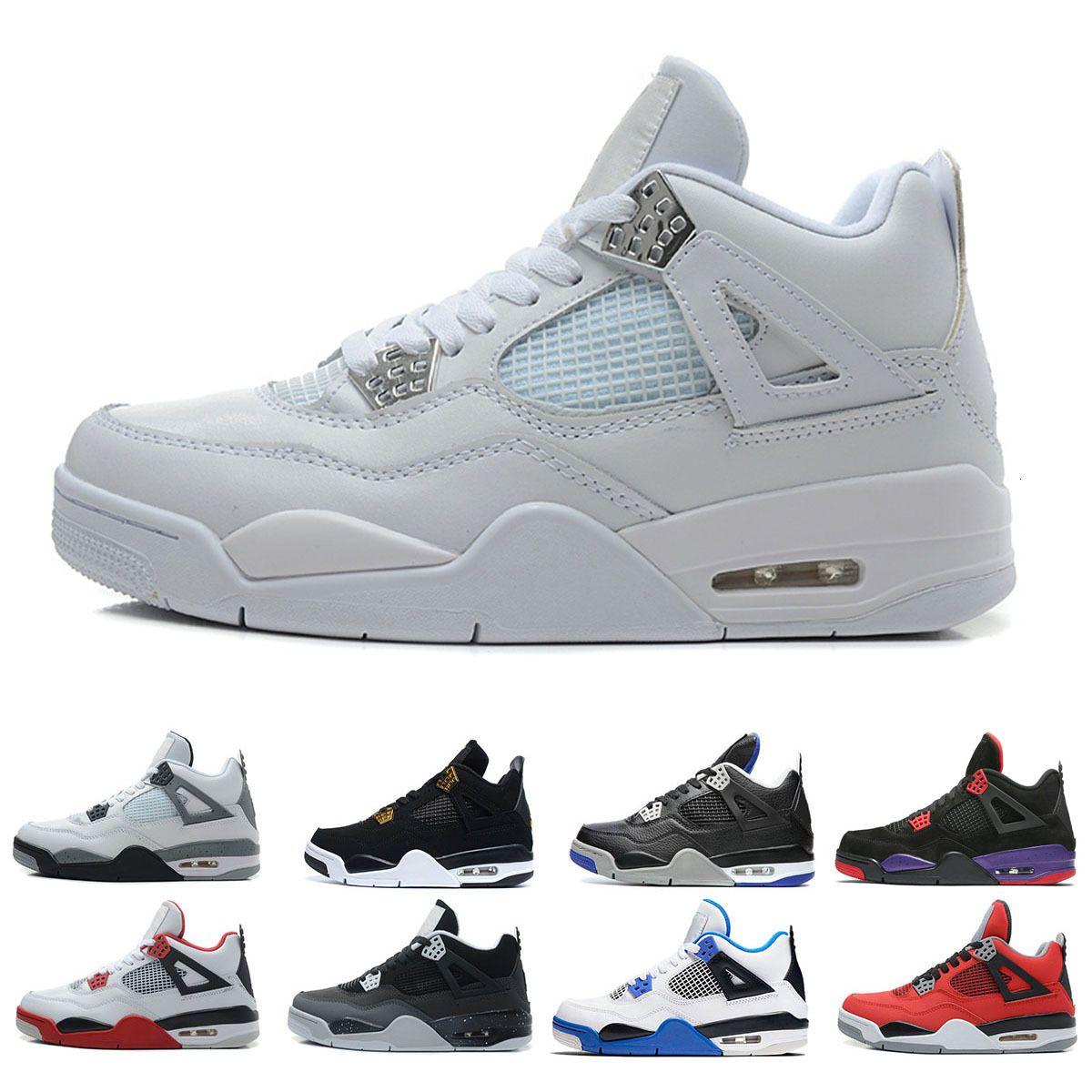 Хорошие преувеличения 4 мотоспорты синие мужские баскетбольные туфли 4S чистые деньги заводят белые цементные черные кошки кроссовки роялти красный 4S спортивная обувь