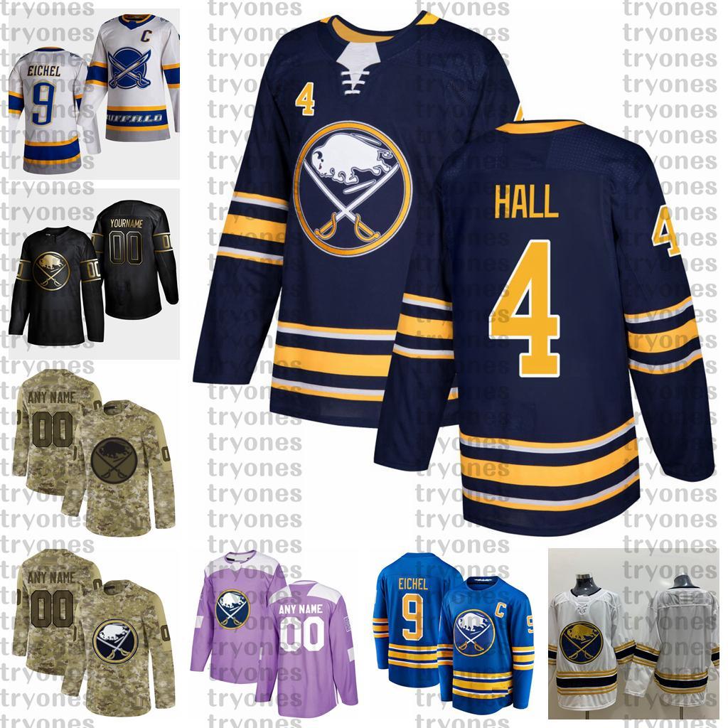 2021 Retro Retro Personalizar # 4 Taylor Hall Buffalo Sabres Jerseys Golden Edition Camo Veteranos Día Fights Cancer Hockey Jersey