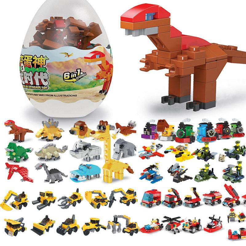 Capsule Toy Building Blocks Toys Confluence Children's Dinosaur Funny Egg Small Particles Assembled and DIY Compatible