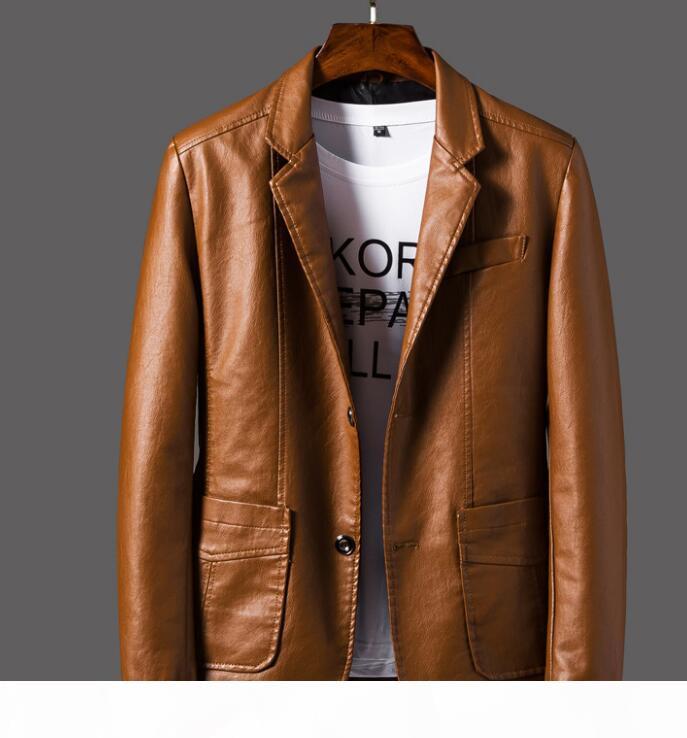 Fashion Men Single Breasted Risvolto Giacca in pelle Giacca in pelle Moto Giacca giacca Cappotto Capispalla