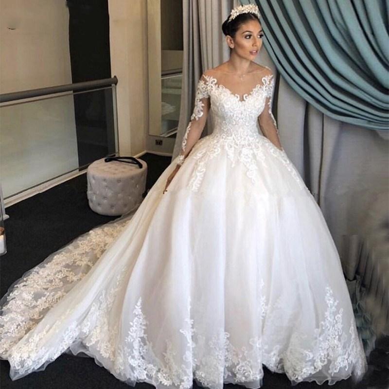 Echt Foto Luxus Ballkleid Spitze Brautkleider Prinzessin Lange Ärmel Vintage Scoop Appliques Chapel Zug Designer Hochzeitskleider P15