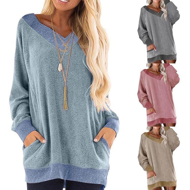 E-Baihui 2021 осень / зима новый стиль V-образным вырезом контрастный карманный свитер с длинным рукавом пуловерная толстовка повседневная футболка QF7051