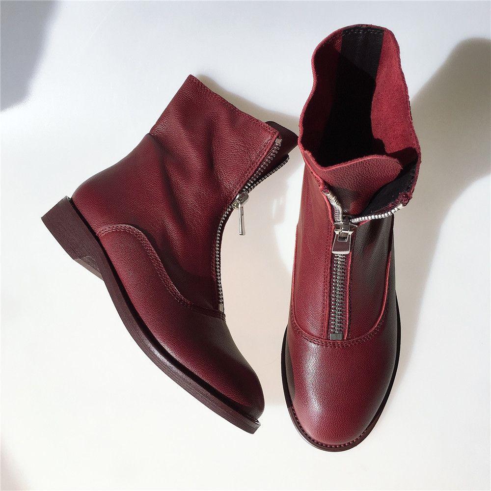 2021 Female de Superior 22-24.5cm Lambskin na frente para outono guidi botas J2T5
