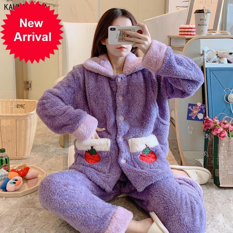 Winter Femmes Pyjamas Ensembles Épaissir Tour de nuit Velours Velours Épais Poches d'allaitement de maternité Boutons Pajama Homewear Homewear