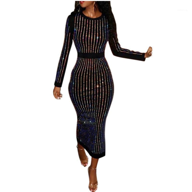 Femmes Suspin robe automne manches longues robes à col ôles à manches longues slim ajustement sexy moulin robe godet chaud perçage chaude vestimentaire goutte expédition1