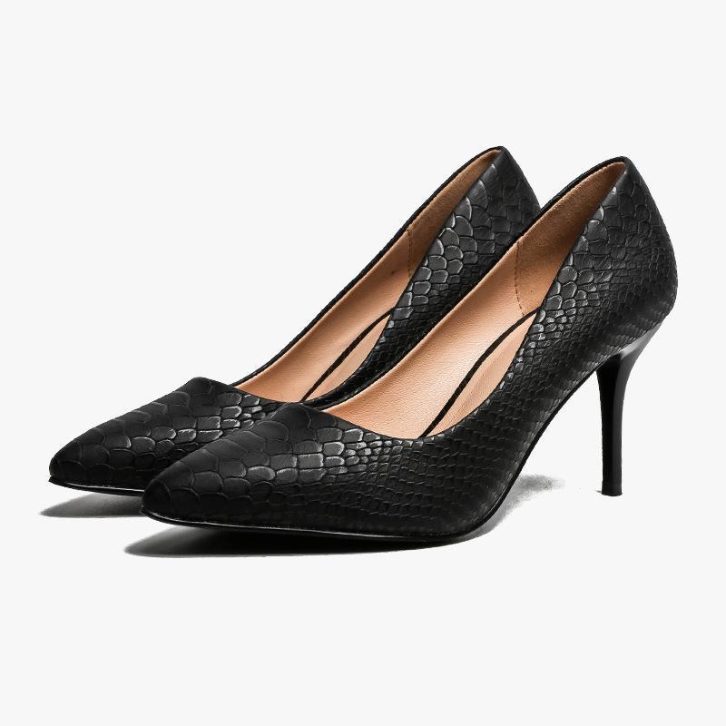Zapatos de vestir mujeres estilo tacón alto estilo mujer puntiaguda cómoda solo asakuchi serpiente de snakes